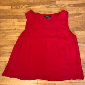 Ellen Tracy Sleeveless Red Silk Top